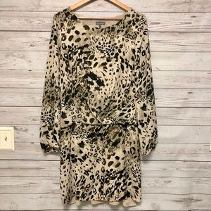Vince Camuto beige animal print dress size Large